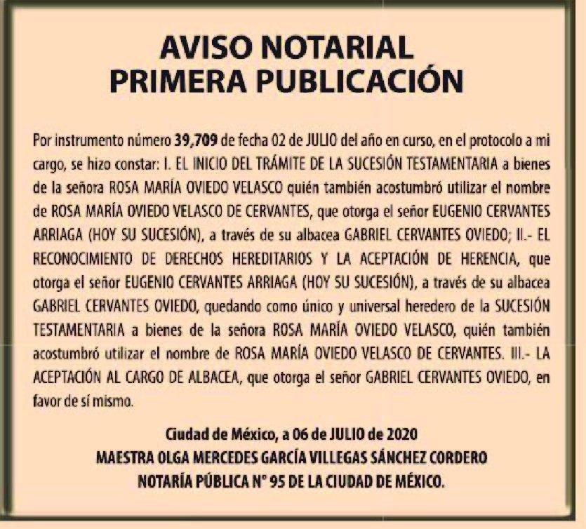 publicar avisos notariales